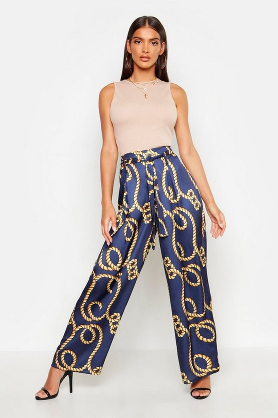 Womens Navy Rope Print Belted Satin Trouser