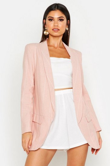 Womens Pink Linen Look Stripe Blazer
