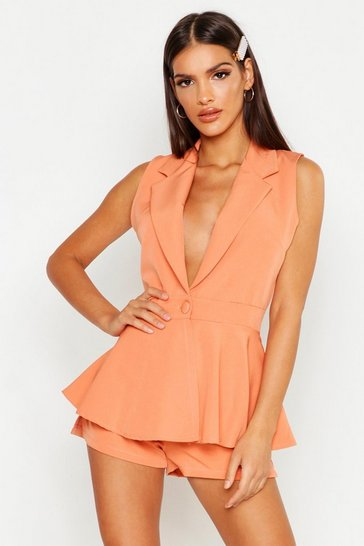 Womens Coral Sleeveless Peplum Blazer