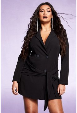 Dam Black Tie Front Double Breasted Blazer Dress