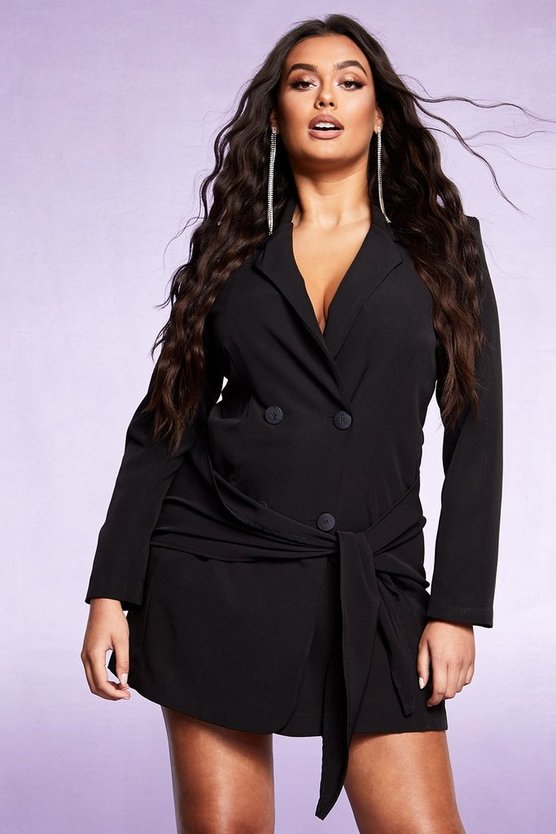 Womens Black Tie Front Double Breasted Blazer Dress