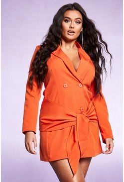 Womens Orange Tie Front Double Breasted Blazer Dress