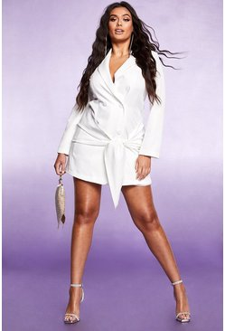 Womens White Tie Front Double Breasted Blazer Dress
