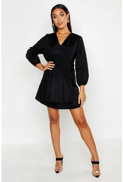 Womens Black Poplin Tie Side Smock Dress