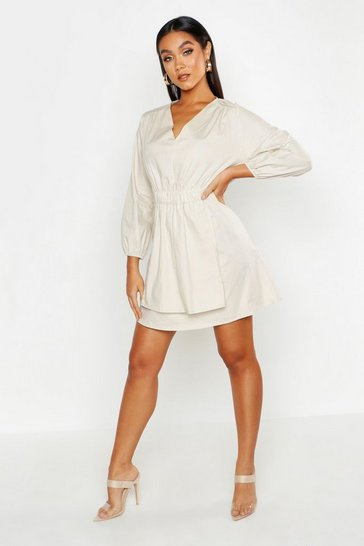 Womens Stone Poplin Tie Side Smock Dress