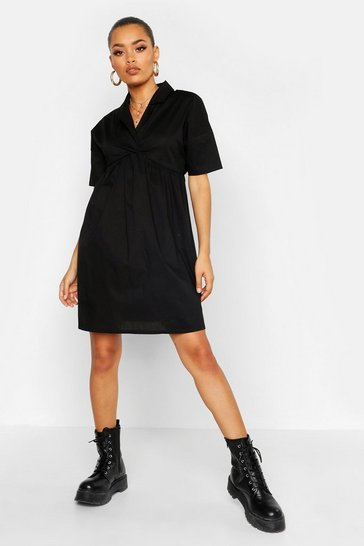 Womens Black Shirt Smock Dress