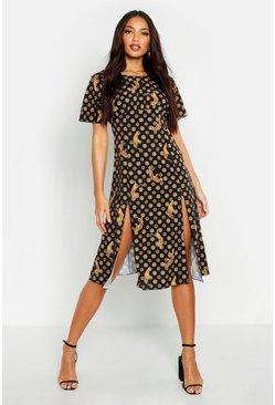 Womens Black Coin Print Split Front Midi Dress