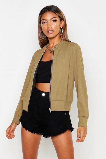Womens Khaki Ribbed Bomber Jacket