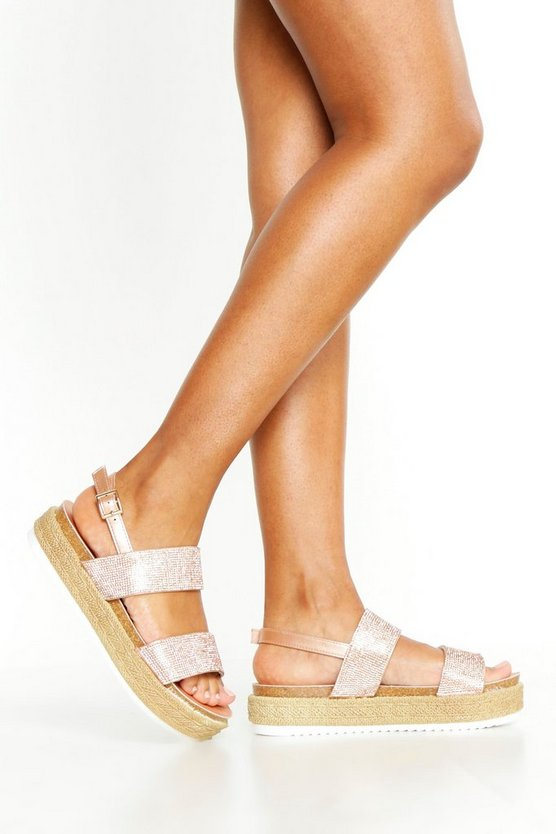 Womens Rose gold Embellished Double Strap Flatforms