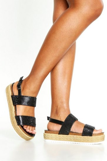 Womens Black Embellished Double Strap Flatforms