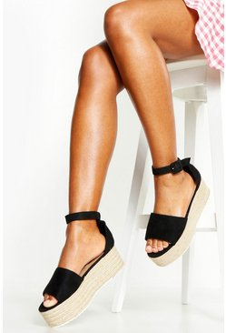 Womens Black Two Part Peeptoe Flatforms