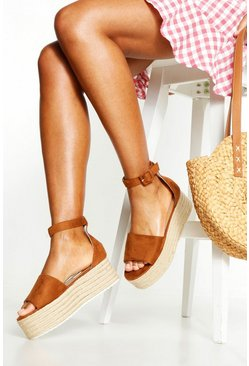 Tan Two Part Peeptoe Flatforms