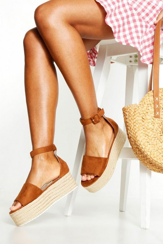 Womens Tan Two Part Peeptoe Flatforms