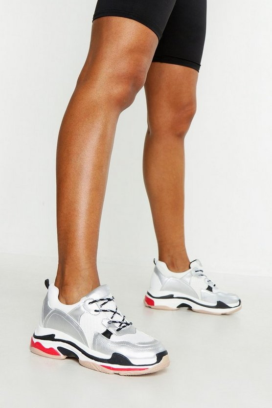 Womens Silver Contrast Sole Chunky Trainers