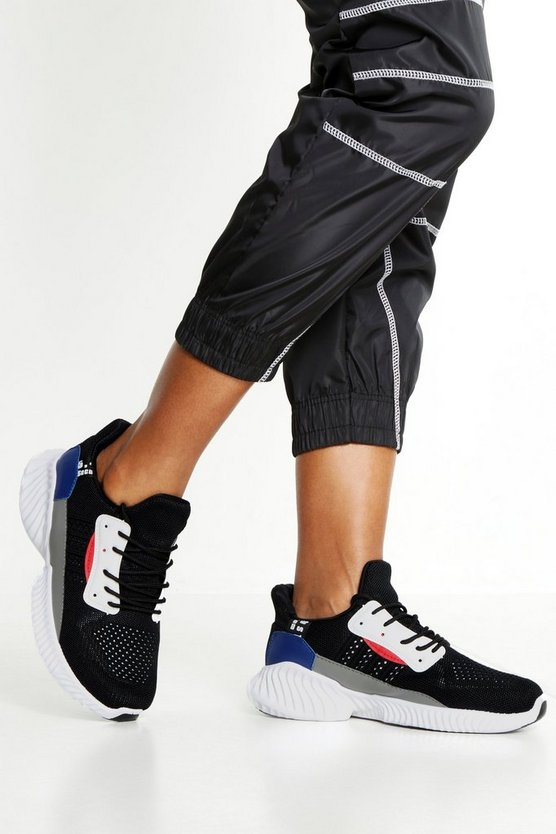 Black Knitted Colour Block Chunky Sole Trainers