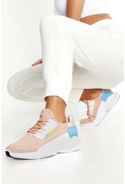 Womens Pink Knitted Colour Block Chunky Sole Trainers