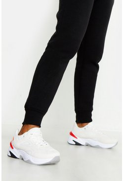 Womens White Chunky Sole Contrast Panel Trainers