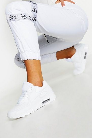 Womens White Colour Pop Bubble Sole Chunky Trainers