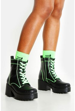 Womens Green Neon Lace Up Chunky Hiker Boots