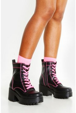 Womens Pink Neon Lace Up Chunky Hiker Boots