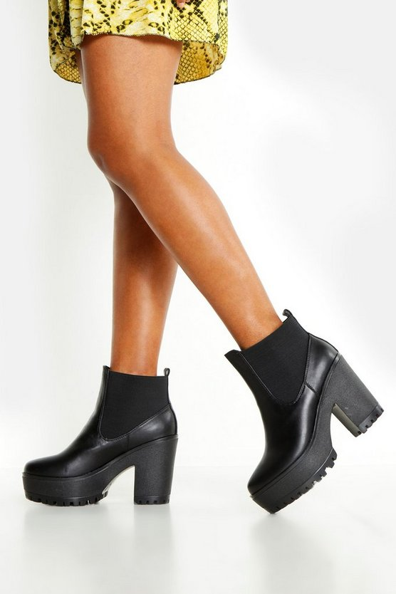 Womens Black Chunky Block Heel Chelsea Boots