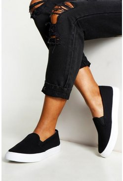 Womens Black Canvas Contrast Sole Skaters