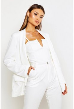 Womens Ivory Shawl Collar Tailored Blazer