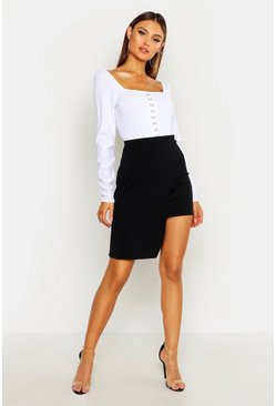 Womens Black Tailored Wrap Skirt