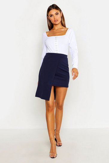 Womens Navy Tailored Wrap Skirt