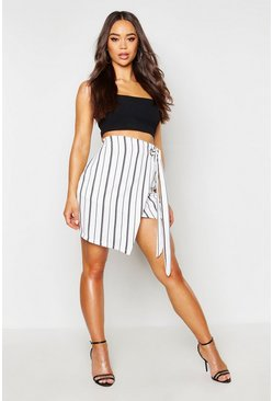 Womens White Stripe Wrap Skirt