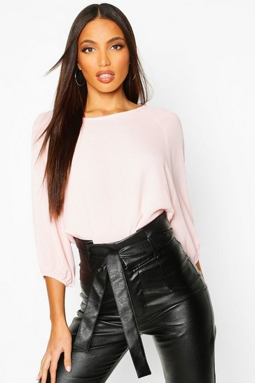 Womens Blush Batwing Sleeve Blouse
