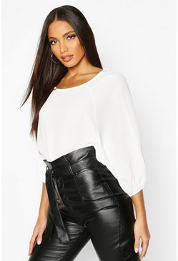 Womens Ivory Batwing Sleeve Blouse