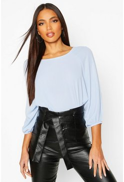 Pale blue Batwing Sleeve Blouse