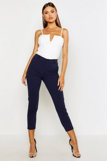 Womens Navy Tailored Tapered Trouser