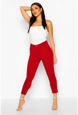 Womens Wine Tailored Tapered Pants