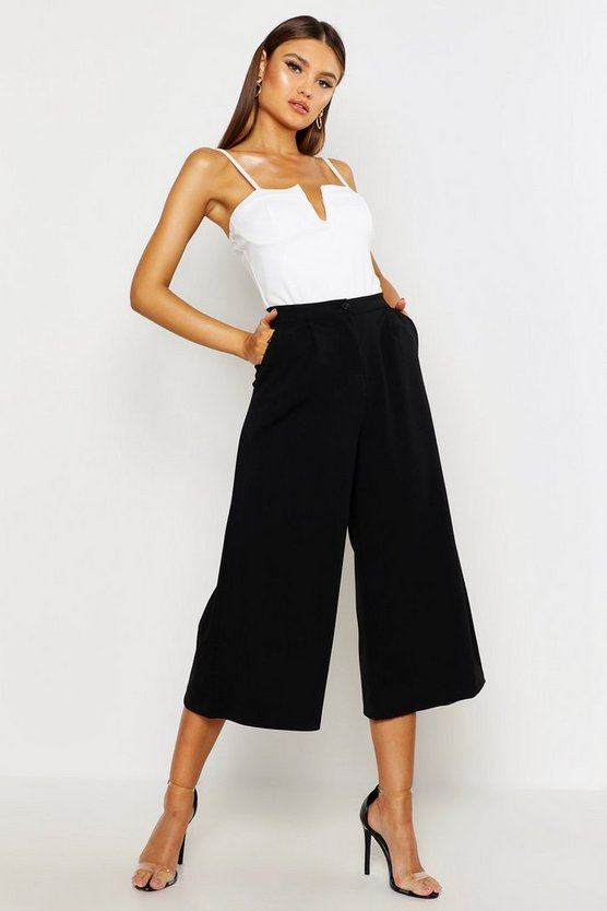 Womens Black Tailored Wide Leg Culotte