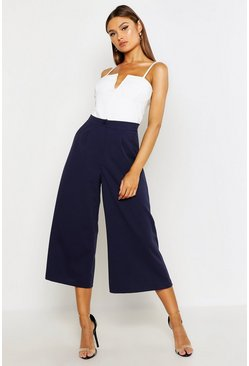 Womens Navy Tailored Wide Leg Culotte