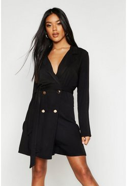 Womens Black Drapey Double Breasted Belted Playsuit