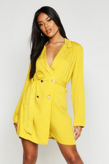 Womens Chartreuse Drapey Double Breasted Belted Playsuit