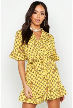 Womens Yellow Coin Print Ruffle Detail Playsuit