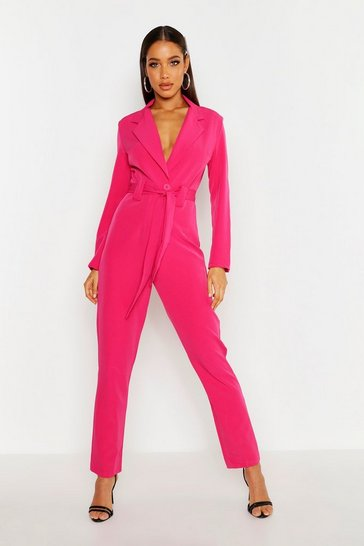 Hot pink Tailored Belted Jumpsuit