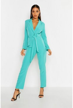 Womens Teal Tailored Belted Jumpsuit
