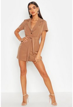 Womens Camel Horn Button Tailored Playsuit