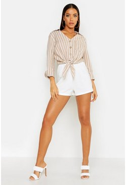 Womens Stone Stripe Linen Tie Front Shirt