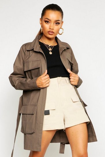 Womens Khaki Double Pocket Belted Utility Jacket