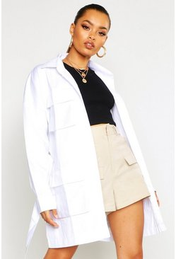 Womens White Double Pocket Belted Utility Jacket