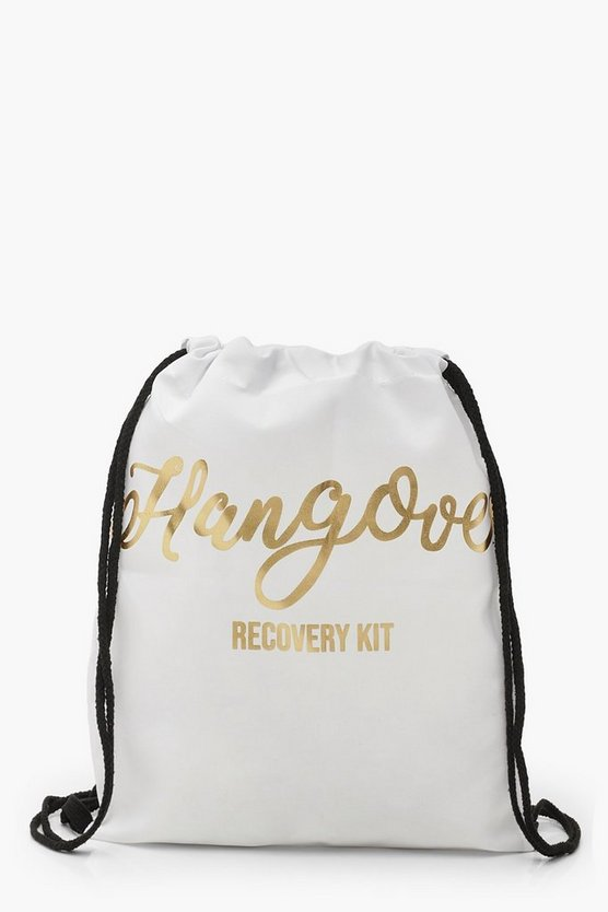 Womens White Foil Print Hangover Recovery Draw Cord Rucksack