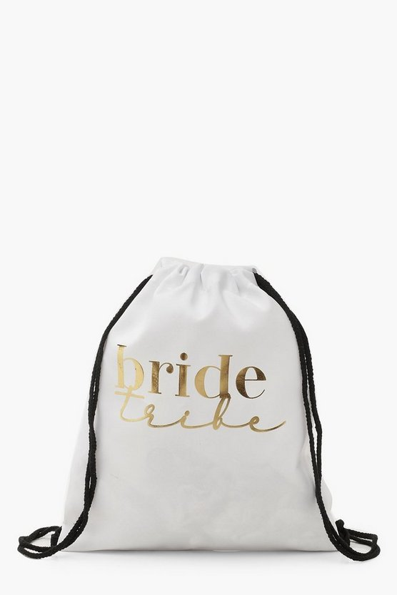Womens White Foil Print Bride Tribe Draw Cord Rucksack