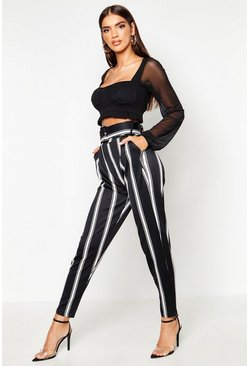 Womens Black Striped Belted Cinched Waist Peg Pants