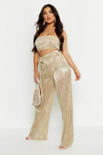 Womens Gold Metallic Pleated Trouser & Bandeau Co-ord